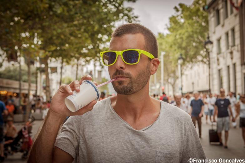 Guy drinking horchata