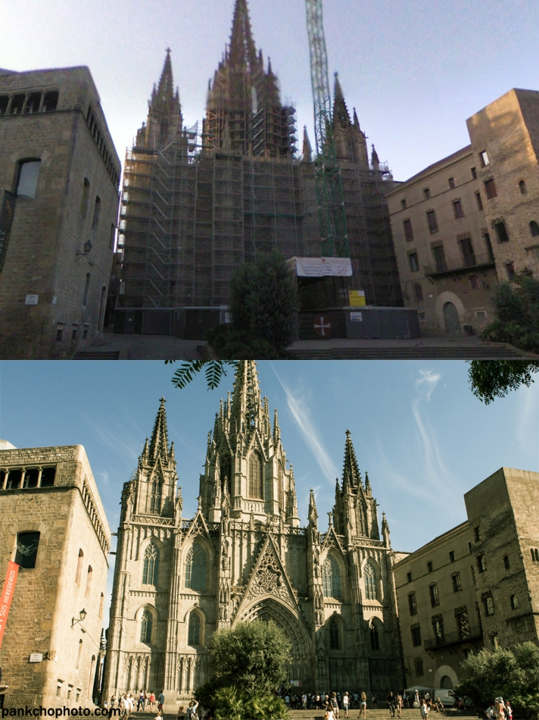 Up: Catedral de la Santa Creu i Santa Eulàlia by Google Maps Street View- Barcelona, August 2008. Down: Catedral de la Santa Creu i Santa Eulàlia by me - Barcelona, August 2013