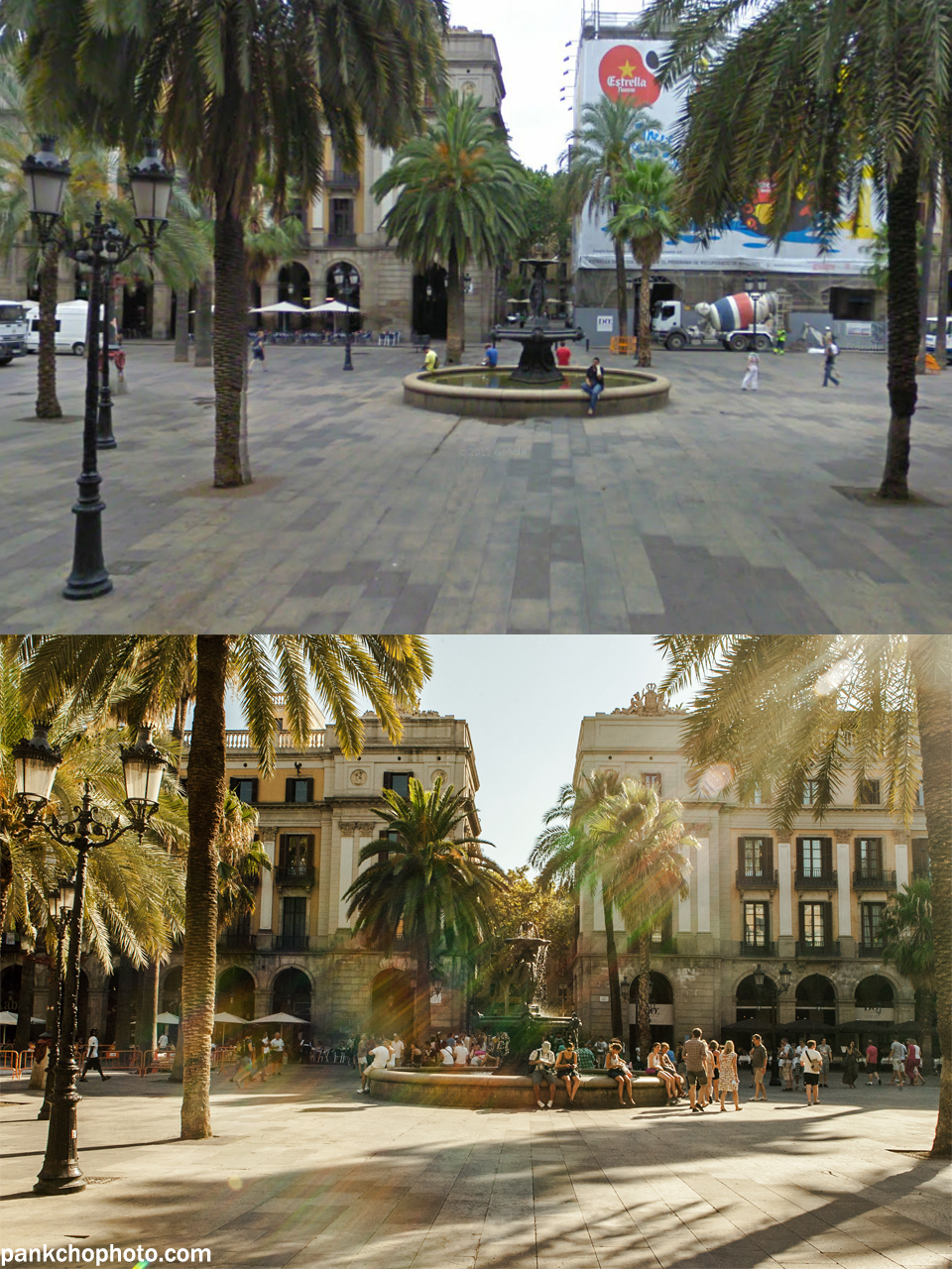 Up: Plaça Reial by Google Maps Street View - Barcelona, July 2009 Down: Plaça Reial by me - Barcelona, August 2013