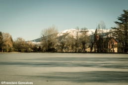 Frozen pond and the Pyrenees