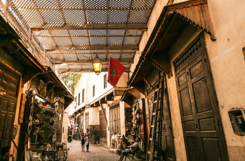 La bandera de Marruecos presente