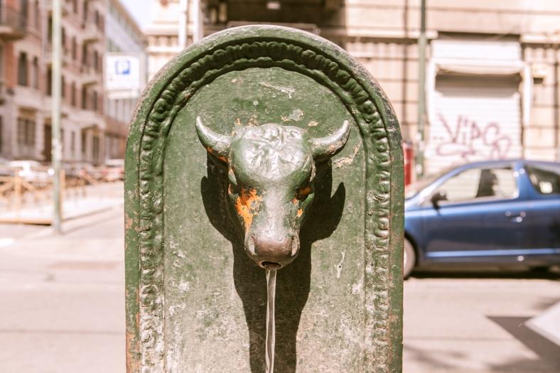 Las fuentes con el toro, un clásico de la ciudad
