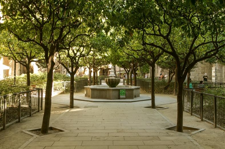 Jardines del antiguo hospital de la Santa Creu