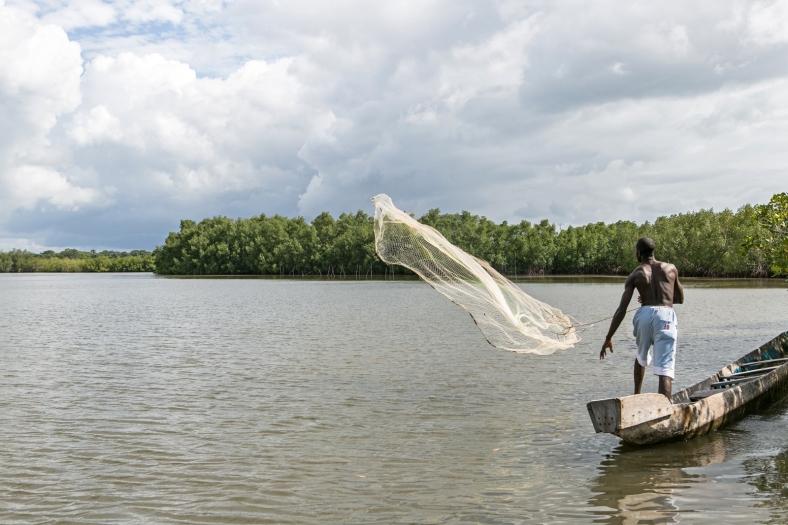 Pesca artesanal en el río