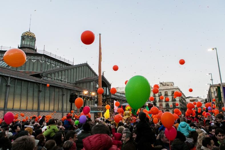 El Born Centre Cultural cubierto de globos y confeti