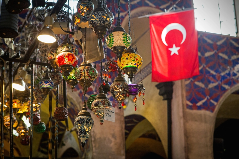 Bandera de Turquía en el Gran Bazar